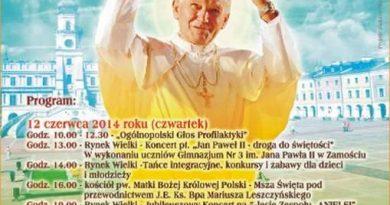 12 – 13 czerwca 2014 r. Zamojskie Dni Papieskie – program
