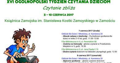 XVI Ogólnopolski Tydzień Czytania Dzieciom w Książnicy Zamojskiej