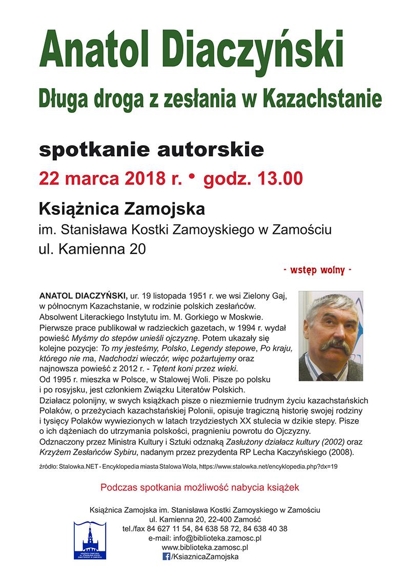 Długa droga z zesłania w Kazachstanie – Spotkanie autorskie z Anatolem Diaczyńskim