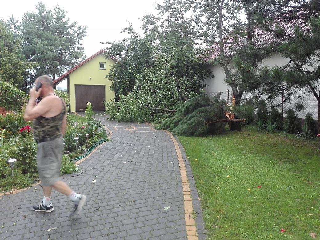 Powalone drzewa, pozrywane dachy czyli krajobraz po burzy