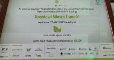 """Zamość wyróżniony w konkursie ECO- MIASTO w kategorii """"zieleń a powietrze"""""""