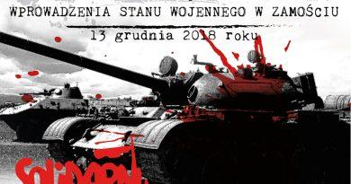 Rekonstrukcja 37. rocznicy wprowadzenia stanu wojennego w Zamościu