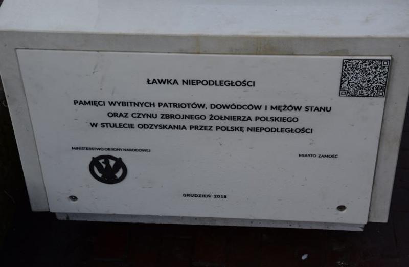 Ławka Niepodległości już w Zamościu