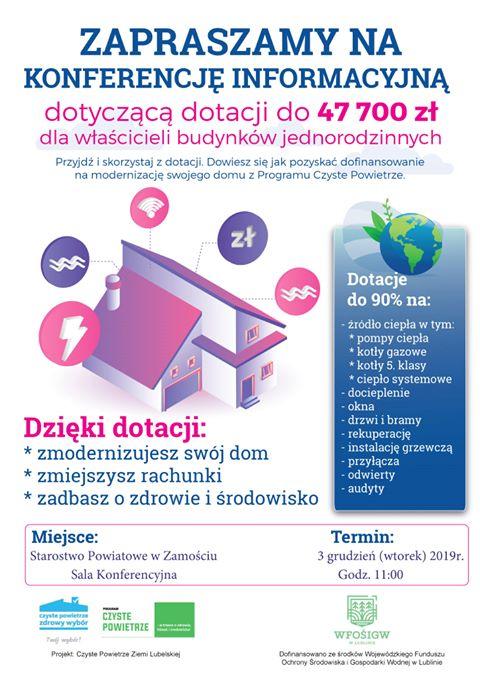 Czyste Powietrze Powiatu Zamojskiego – konferencja dla właścicieli domów jednorodzinnych