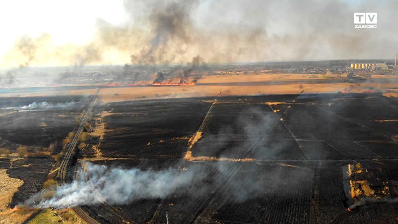 Pożar 150 ha suchych traw