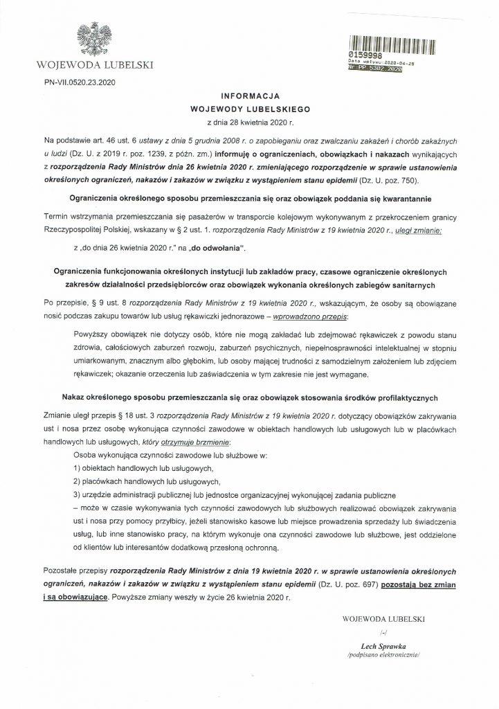 Informacja Wojewody Lubelskiego w sprawie ograniczeń, obowiązków i nakazów związanych z COVID-19