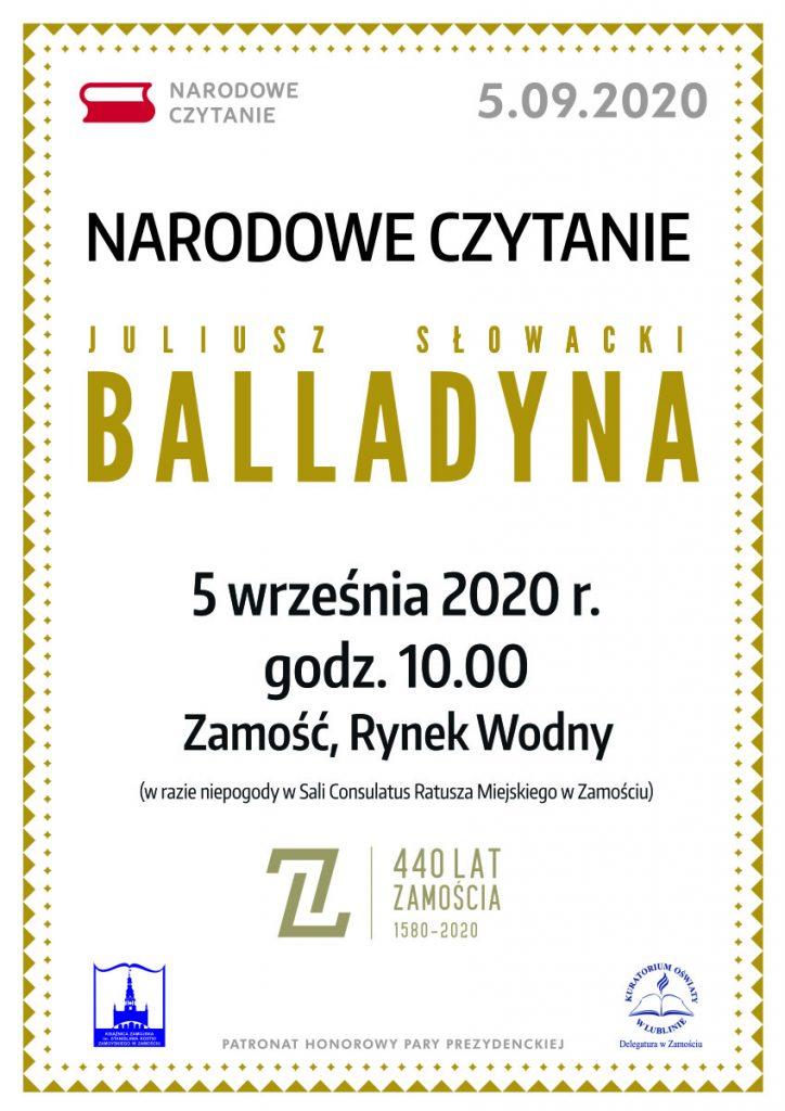 Balladyna w Zamościu czyli Narodowe Czytanie 2020